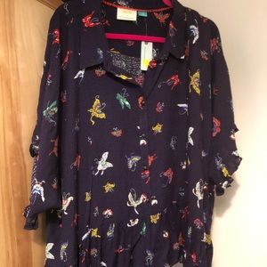 NWT Maeve by Anthro butterfly peplum button down